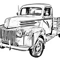 Old Flat Bed Ford Work Truck Illustration by Keith Webber Jr