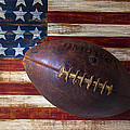 Old Football On American Flag by Garry Gay