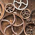 Old Gears In Genoa Nevada by Artist and Photographer Laura Wrede