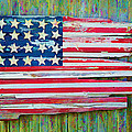 Old Glory In Wood Impression by Jack Daulton