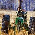 Old Green Tractor On The Farm by Dan Sproul