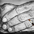 Old Hands With Wedding Band by Elena Elisseeva
