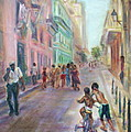 Old Havana Street Life - Sale - Large Scenic Cityscape Painting by Quin Sweetman