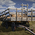 Old Hay Wagon In The Prairie Grass by Randall Nyhof