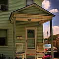 Old Houses - New Jersey - In The Oranges - Green House With Flower Pots And Rocking Chairs - Color by Miriam Danar