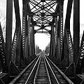 Old Huron River Rxr Bridge Black And White  by Daniel Thompson