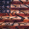 Old Keys On American Flag by Garry Gay