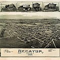 Old Map Of Decatur Texas 1890 by Mountain Dreams