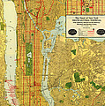 Old Map Of New York Central Railroad Manhattan Map 1918 by Mountain Dreams