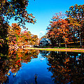Old Mill House Pond In Autumn Fine Art Photograph Print With Vibrant Fall Colors by Jerry Cowart