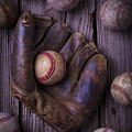 Old Mitt and Worn Baseballs by Garry Gay