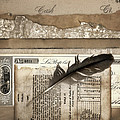 Old Papers And A Feather by Carol Leigh