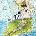 Old Pt Loma Lighthouse Ca Nautical Chart Map Art Cathy Peek by Cathy Peek