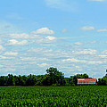 Old Red Barn And Fields by Jeanette C Landstrom