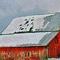 Old Red Barn In Winter by Dan Sproul
