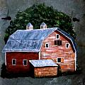Old Red Barn On Slate by Gino Didio