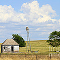 Old Rush County Farmhouse With Windmill by Catherine Sherman