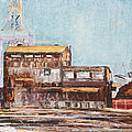 Old Rustic Schnitzer Steel Building With Crane And Ship by Asha Carolyn Young
