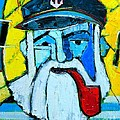 Old Sailor With Pipe Expressionist Portrait by Ana Maria Edulescu