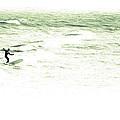 Old School Longboard Lone Surfer by Gray  Artus