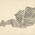 Old Sheet Music Map Of Austria Map by Michael Tompsett