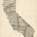 Old Sheet Music Map Of California by Michael Tompsett