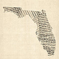 Old Sheet Music Map Of Florida by Michael Tompsett