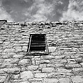 Old Stone Wall Black And White Photograph by Ann Powell
