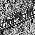 Old Style Green And White Fitzwilliam Street Upper Sign In Irish And English In Dublin On Red Brick Wall by Joe Fox