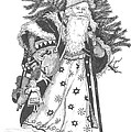 Old Time Santa With Violin by Petra Stephens