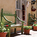 Old Town Albuquerque Green Bench by Val Isenhower