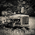 Old Tractor Black And White Square by Edward Fielding