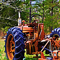 Old Tractor Digital Paint by Debbie Portwood