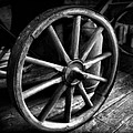 Old Wagon Wheel Black And White by Dan Sproul