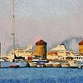Old Windmills And Cruise Ship by George Atsametakis