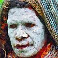 Old Woman In Traditional Shawl by George Fedin and Magomed Magomedagaev