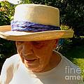 Old Woman Wearing Straw Hat by Afroditi Katsikis