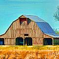 Old Wood Barn  Digital Paint by Debbie Portwood