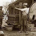 Old  Wooden Wine Press Circa 1910 by California Views Archives Mr Pat Hathaway Archives