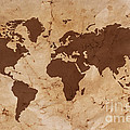 Old World Map On Creased And Stained Parchment Paper by Richard Thomas