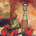 Olive Oil Tomato And Pear Still Life by Ginette Callaway
