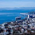 Olympic Mountains On Elliott Bay Seattle Washington by Rich Priest