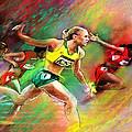 Olympics 100 Metres Hurdles Sally Pearson by Miki De Goodaboom