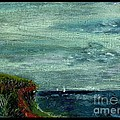 On A Bluff Over The Sea Looking At Sailboats by Cathy Peterson