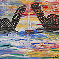 On The Hour. The Sailboat And The Steel Bridge by Andrew J Andropolis