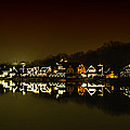 On The River At Night -  Boathouse Row by Bill Cannon