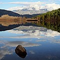 One Mile Lake One Rock Reflection Pemberton B.c Canada by Pierre Leclerc Photography