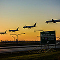 One Plane Landing At O'hare by Anthony Doudt