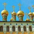 Onion Domes On Churches Of The Nativity And Deposition Of The Robe Inside Kreml by Ruth Hager