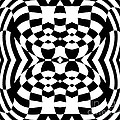 Op Art Geometric Pattern Black White Print No.230. by Drinka Mercep